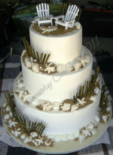 Beach Scene Wedding Cake - Whip Cream - July 2011